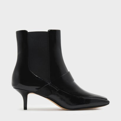 スクエアトゥキトンヒールブーツ / SQUARE TOE KITTEN HEEL BOOTS (Black Textured)