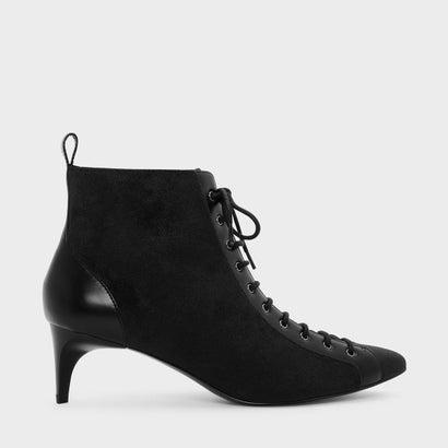 キトンヒールレースアップブーツ / KITTEN HEEL LACE UP BOOTS (Black)