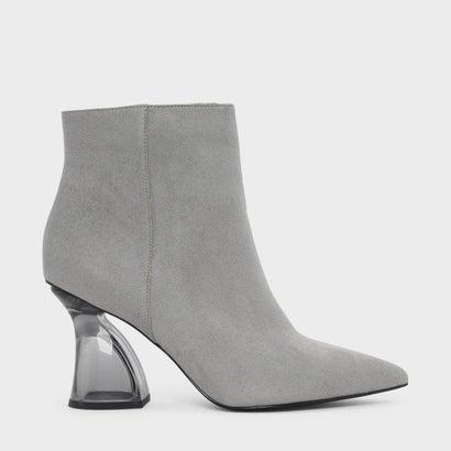 スカルプチャルルーサイトヒールブーツ / SCULPTURAL LUCITE HEEL BOOTS (Grey)