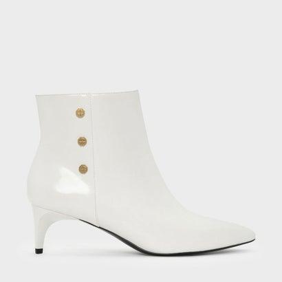 スクリュースタッズディーテルアンクルブーツ / SCREW STUD DETAIL ANKLE BOOTS (White)