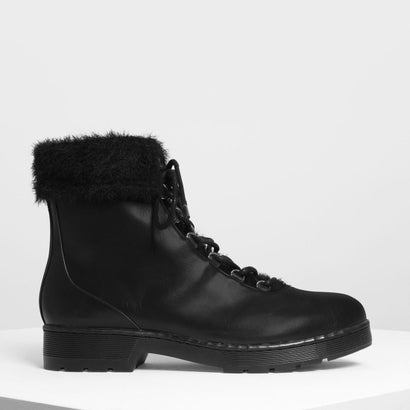 フーリーカフコンバットブーツ / Furry Cuff Detail Combat Boots (Black)