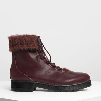 フーリーカフコンバットブーツ / Furry Cuff Detail Combat Boots (Burgundy)