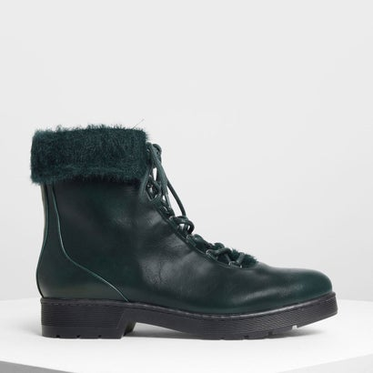 フーリーカフコンバットブーツ / Furry Cuff Detail Combat Boots (Dark Green)