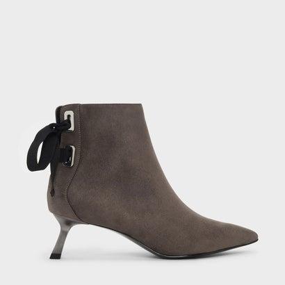 スラントヒールアンクルブーツ / Slant Heel Ankle Boots (Taupe)
