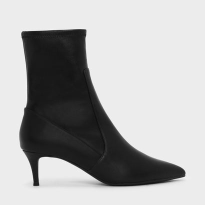 キトゥンヒールポインテッドカーフブーツ / Kitten Heel Pointed Calf Boots (Black)