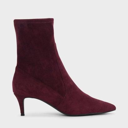 キトゥンヒールポインテッドカーフブーツ / Kitten Heel Pointed Calf Boots (Burgundy)