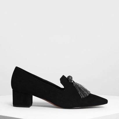 スエード ブロックヒール ローファー / Suede Brock Heels Loafer (Black)
