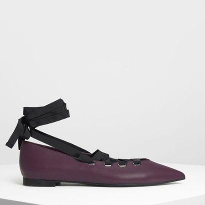 レースアップ ポインテッド フラット / Laced Up Pointed Flats (Purple)