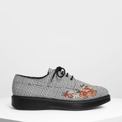 フラワー エンブロイダリー ダービーシューズ / Flower Embroidery Derby Pumps (Multi)