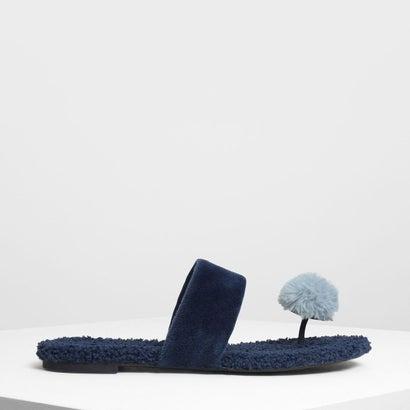 ファーリー トング スリッポン / Furry Thong Slip Ons (Dark Blue)
