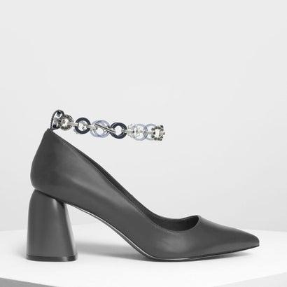 チェーン アンクレットディテール パンプス / Chain Anklet Detail Pumps (Grey)
