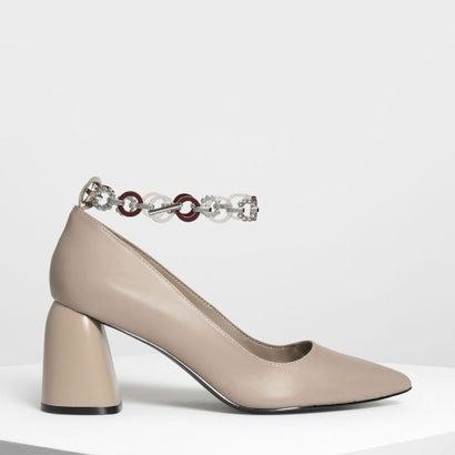チェーン アンクレットディテール パンプス / Chain Anklet Detail Pumps (Taupe)