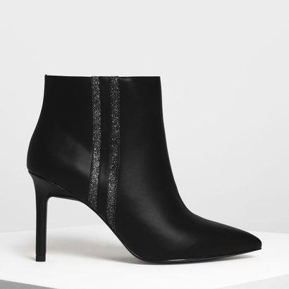 グリッター ストライプディテール アンクルブーツ / Glitter Stripe Detail Ankle Boots (Black)