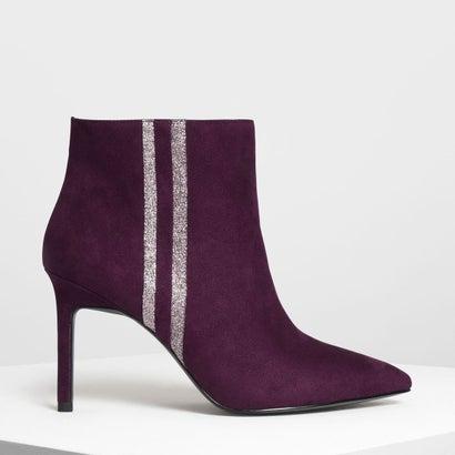 グリッター ストライプディテール アンクルブーツ / Glitter Stripe Detail Ankle Boots (Prune)