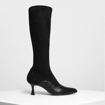 デュアルテクスチャー ニーブーツ / Dual Texture Knee Boots (Black)