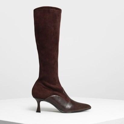 デュアルテクスチャー ニーブーツ / Dual Texture Knee Boots (Dark Brown)
