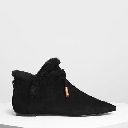 ファーリー ライニング アンクルブーティ / Furry Lining Ankle Booties (Black)
