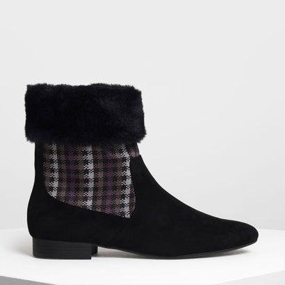 ファーリー カフプリント ブーツ / Furry Cuff Printed Boots (Black)