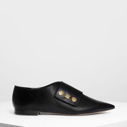 ビンテージ ボタンディテール ポインテッド フラット / Vintage Button Detail Pointed Flats (Black)
