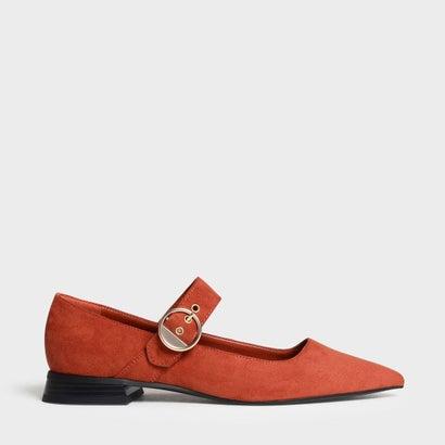 ゴールド バックルディテール メリージェーン フラット / Gold Buckle Detail Mary Jane Flats (Orange)