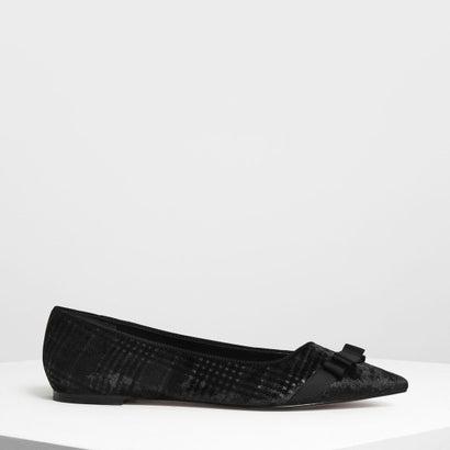 ボウディテール ベルベット バレリーナ / Bow Detail Velvet Ballerinas (Black)