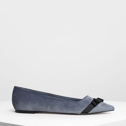 ボウディテール ベルベット バレリーナ / Bow Detail Velvet Ballerinas (Light Blue)