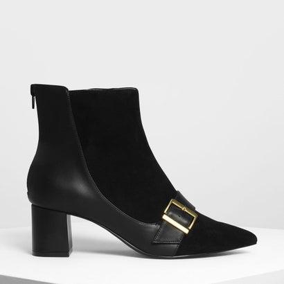 バックルディテール アンクルブーツ / Buckle Detail Ankle Boots (Black)