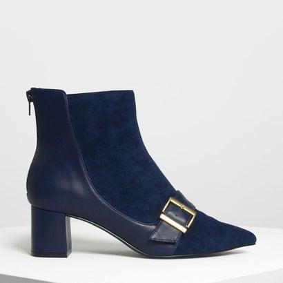 バックルディテール アンクルブーツ / Buckle Detail Ankle Boots (Dark Blue)