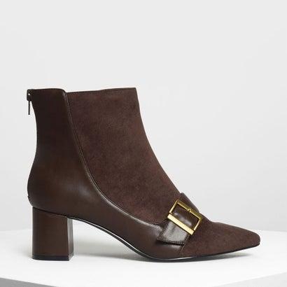 バックルディテール アンクルブーツ / Buckle Detail Ankle Boots (Dark Brown)