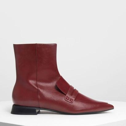 ポインテッドアンクルブーツ / Pointed Ankle Boots (Burgundy)