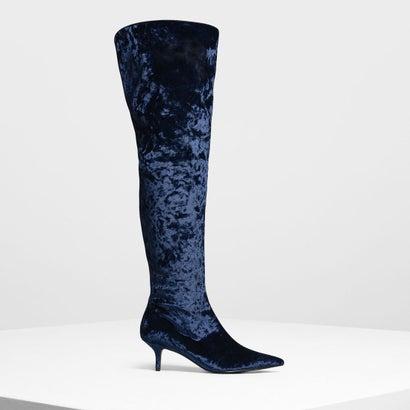 クラシックポインテッドサイハイブーツ / Classic Pointed Thigh High Boots (Dark Blue)