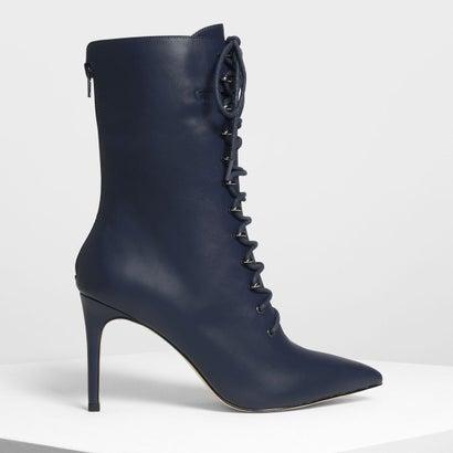 スピード レースディテール ポインテッド ブーツ / Speed Lacing Detail Pointed Boots (Dark Blue)