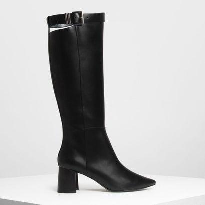 バックル ストラップディテール ニーブーツ / Buckled Strap Detail Knee Boots (Black)