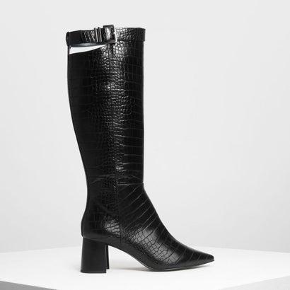 バックル ストラップディテール ニーブーツ / Buckled Strap Detail Knee Boots (Black Textured)