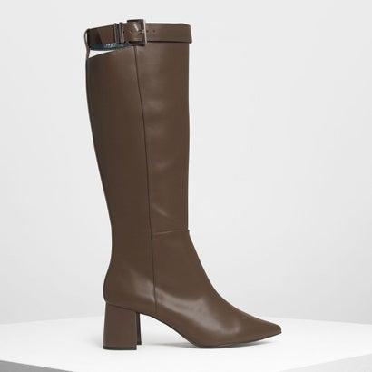 バックル ストラップディテール ニーブーツ / Buckled Strap Detail Knee Boots (Military Green)