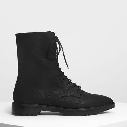 フローラルエンブロイダリーポインテッドカフブーツ / Floral Embroidery Pointed Calf Boots (Black