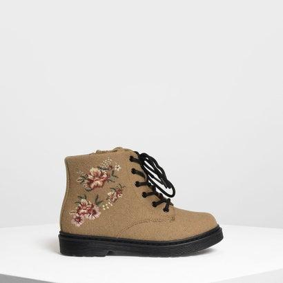 キッズ フローラル エンブロイダリー ブーツ / Kids Floral Embroidery Boots (Beige)