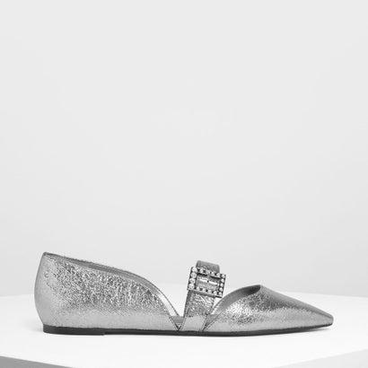 クリスタルエンベリッシュバックルメリージェーンフラット / Crystal Embellished Buckle Mary Jane Fla