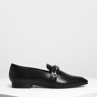チェーンディテールローファー / Chain Detail Loafers (Black)