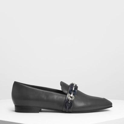 チェーンディテールローファー / Chain Detail Loafers (Grey)