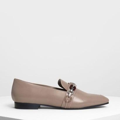 チェーンディテールローファー / Chain Detail Loafers (Taupe)
