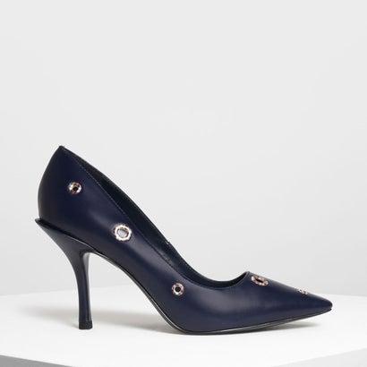 アイレットディテール ヒール / Eyelet Detail Heels (Dark Blue)