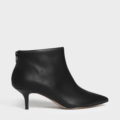 フローラル エンブロイダリー キトンヒール ブーツ / Floral Embroidery Kitten Heel Boots (Black)