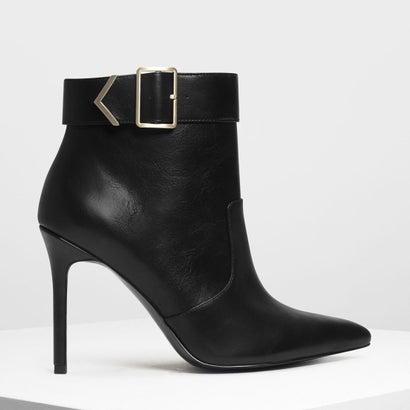 メタリック ディテール アンクルブーツ / Metallic Detail Ankle Boots (Black)