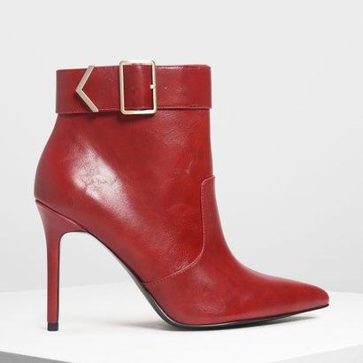 メタリック ディテール アンクルブーツ / Metallic Detail Ankle Boots (Red)