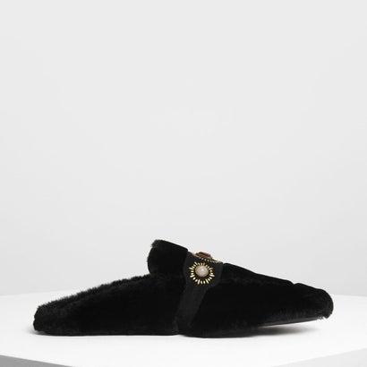 エンベリッシュ ファー スリッポン / Embellished Furry Slip Ons (Black)