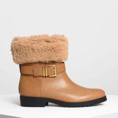 ファー カフ バックルブーツ / Furry Cuff Buckled Boots (Cognac)