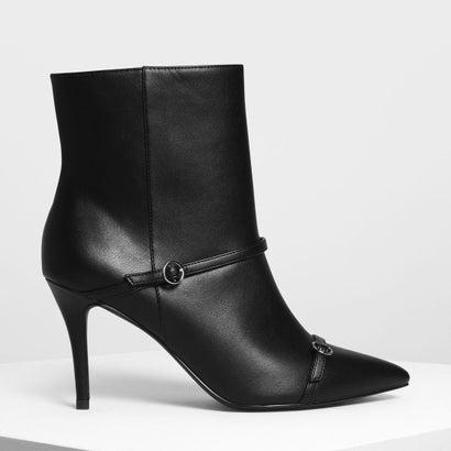 ダブルストラップ ディテール ポインテッドブーツ / Double Strap Detail Pointed Boots (Black)
