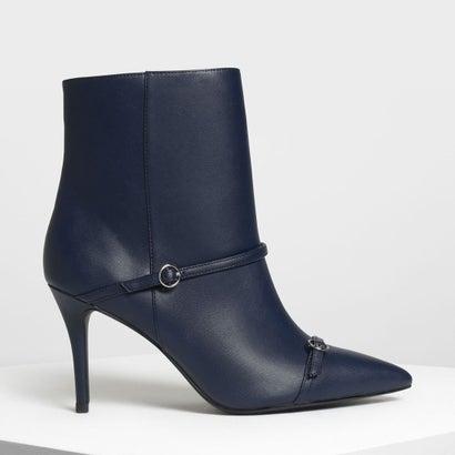 ダブルストラップ ディテール ポインテッドブーツ / Double Strap Detail Pointed Boots (Dark Blu