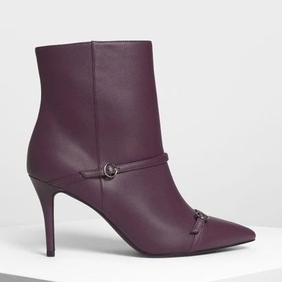 ダブルストラップ ディテール ポインテッドブーツ / Double Strap Detail Pointed Boots (Purple)